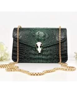 Geantă verde piele eco cu imprimeu croco Soraya