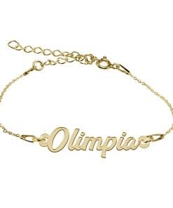 Bratara Argint Placata cu Aur 18 karate, Nume Olimpia, 15 + 4 cm