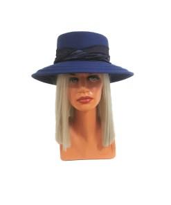 Palarie dama Luxe albastra, cu bor lat si banda (Pentru: Fete)