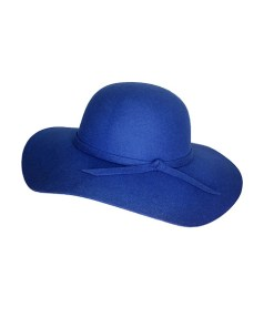 Palarie dama Vintage, cu bor lat si fundita, albastra (Pentru: Fete)
