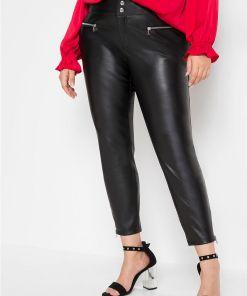 Pantaloni imitație de piele - negru