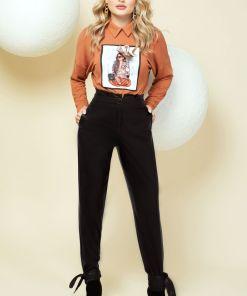 Pantaloni negri din piele ecologica cu funda la glezne si talie inalta cu pliuri