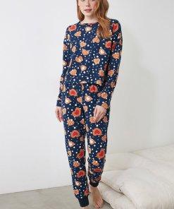 Pijama cu imprimeu cu bluza cu decolteu rotund 3391339