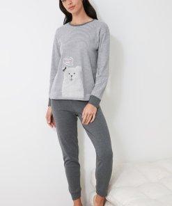 Pijama cu model in dungi si ursuleti 3312507