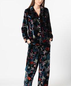 Pijama cu imprimeu si aspect catifelat 3294640