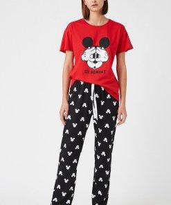 Tricou si pantaloni de pijama cu Mickey Mouse 3267134