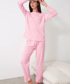 Pijama cu striatii si detaliu brodat 3312469