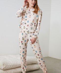 Pijama cu striatii si imprimeu cu fructe 3391434