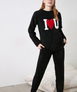 Pijama lunga cu imprimeu text 3391510