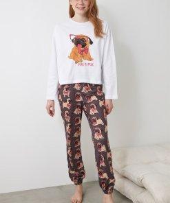 Pijama cu imprimeu si bluza cu decolteu la baza gatului 3391421