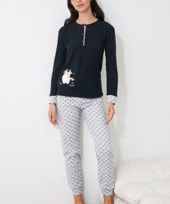Pijama cu model cu pinguini si fulgi de nea 3312394
