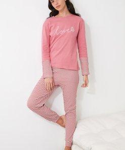 Pijama cu dungi si text brodat 3312484