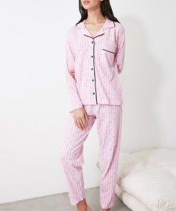 Pijama cu model in dungi si imprimeu cu inimi 3312399