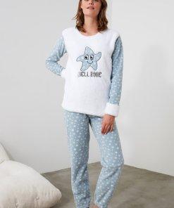 Pijama de fleece cu imprimeu 3239758