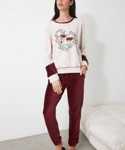Pijama cu pantaloni de catifea 3312714