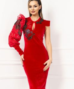 Rochie eleganta din catifea cu o maneca lunga brodata