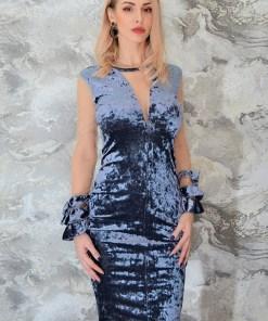 Rochie eleganta, din catifea, Dianne, gri (Culoare: Gri, Selecteaza Marime: Universala)