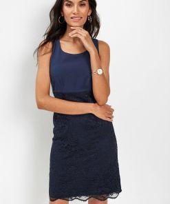 Rochie etui cu dantelă - albastru