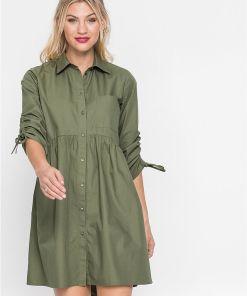 Rochie tip cămașă - verde