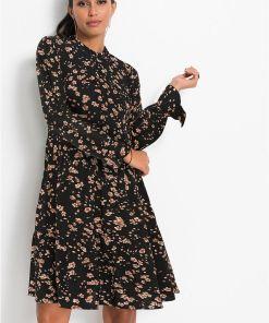 Rochie tip cămașă, cu imprimeu - negru
