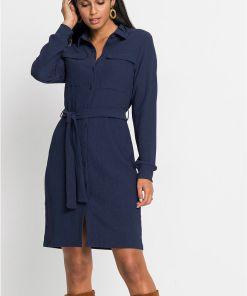 Rochie tip cămașă, din crep - albastru