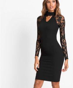Rochie tricotată cu dantelă - negru