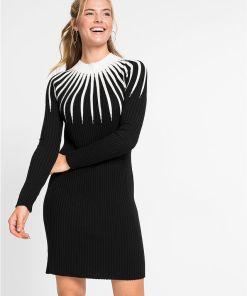 Rochie tricotată cu dungi - negru