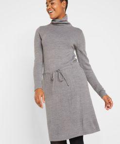 Rochie tricotată cu guler înalt - gri
