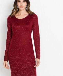 Rochie tricotată cu pietricele sclipitoare - roșu