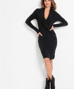 Rochie tricotată cu șnur - negru