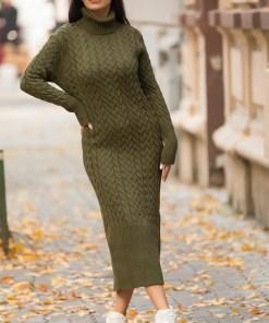 Rochie tricotata Diane, cu guler si maneci lungi, kaki (Selecteaza Marime: Universala)