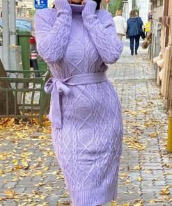 Rochie tricotata Sara, cu guler si maneci lungi, lila (Selecteaza Marime: Universala)