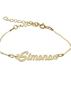 Bratara Argint Placata cu Aur 18 karate, Nume Simona, 15 + 4 cm