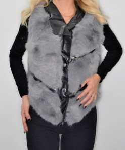 Vesta din blana cu insertii de piele ecologica gri (Selecteaza Marime: S)