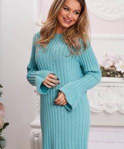 Rochie albastru aqua midi din material reiat tricotata cu maneci clopot