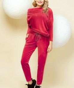 Trening PrettyGirl rosu casual cu pantaloni din catifea pe umar