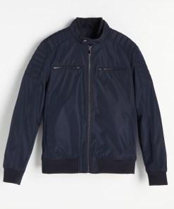 Reserved - Geacă biker cu guler înalt - Bleumarin