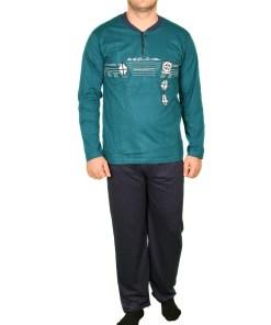 Pijama turquoise cu steluta la piept pentru barbat - cod 39861