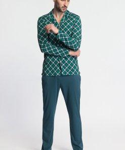 Pijama din amestec de modal si bumbac cu camasa cu model in carouri TARTAN 3457768