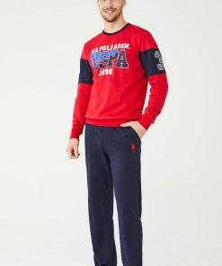 Pijama cu bluza cu imprimeu logo 3196424