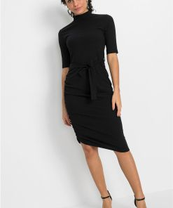 Rochie ripsată cu cordon - negru