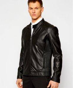 Trussardi Geacă de piele Biker Soft 52S00600 Negru Regular Fit