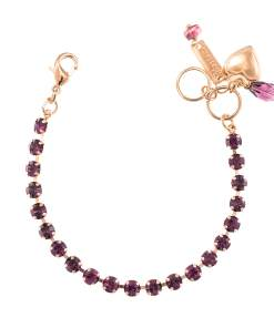 Bratara placata cu Aur roz de 24K, cu cristale Swarovski, February Lucky Birthstone   4000-204204RG
