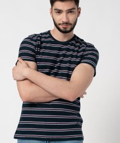 Tricou slim fit din bumbac pique cu model in dungi 3526010