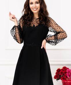 Rochie eleganta de seara in clos cu tul si aplicatii