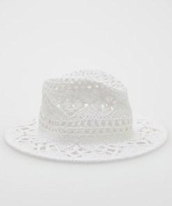 Reserved - Pălărie cu broderie englezească - Ivory