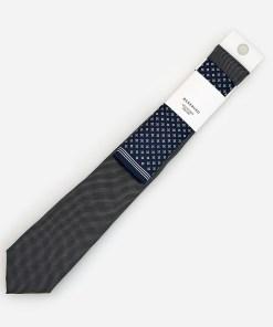 Reserved - Cravată și batistă de buzunar cu model - Gri
