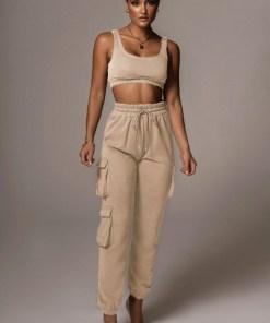 Compleu dama sport bej compus din bustiera si pantaloni lungi tip jogger cu buzunare