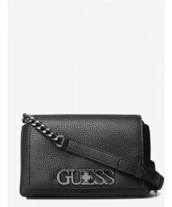 Geanta Guess, crossbody mica, cu logo metalic Uptown Chic, Negru/Grey
