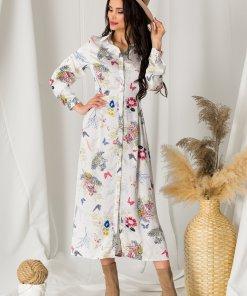 Rochie Diana alba din satin cu imprimeu floral